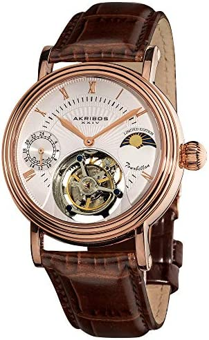 Akribos Mechanical Tourbillon AM PM Moonphase Design Watch – Skeletonized Face with Automatic Dual-time Dial – Limited Edition Genuine Croco-Embossed Calfskin Leather Band – AK493