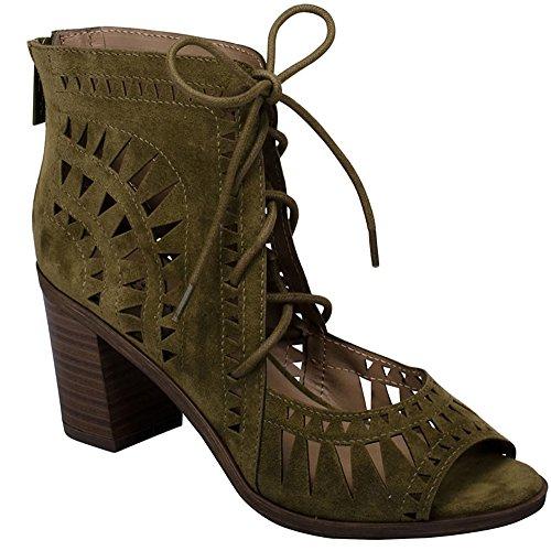 Breckelles Womens Lasercut Staplade Chunky Klack Peep Toe Sandal Olive