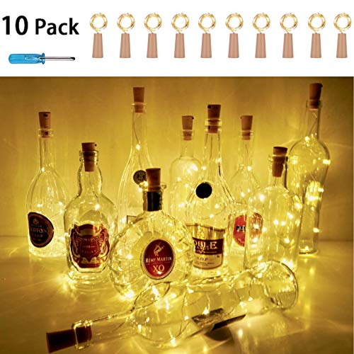StarryMine Wine Bottle Cork Lights, Battery Operated LED Cork Shape Silver Copper Wire Colorful Fairy Mini String Lights for DIY Christmas Halloween Wedding Party Decor,10Pack (Warm White)