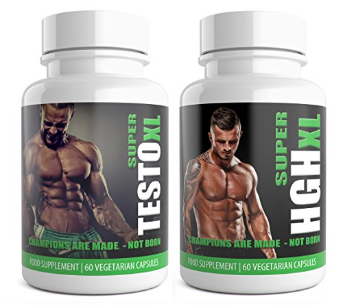 SUPER TESTO XL & SUPER HGH XL White Edition 1 Month Supplement Bundle HGH &...