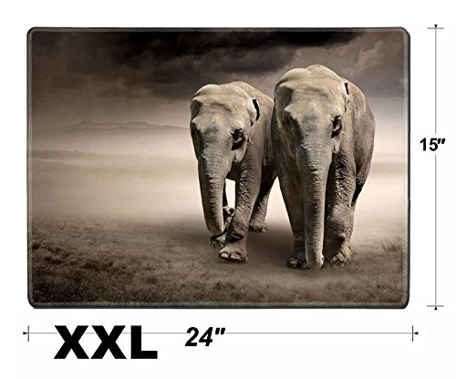 (Liili Extra Large Mouse Pad XXL Extended Non-Slip Rubber Gaming Mousepad 24x15 Inch, 3mm thick Stitched Edge Desk Mat Pair of elephants in motion IMAGE ID)