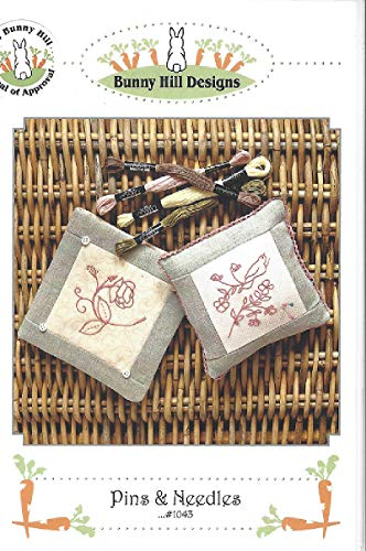 Pins & Needles Embroidery Pattern 1043 from Bunny Hill Designs - Needle Case, Pincushion - Full Material List and Instructions