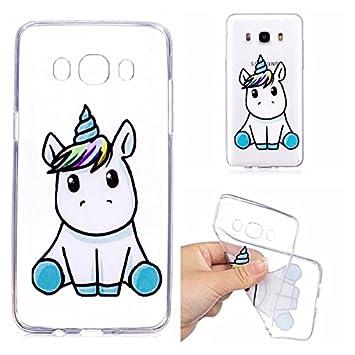 Para Samsung Galaxy J7 2016 (J710) Silicona Carcasa , YIGA Un unicornio Transparente TPU Gel Cubierta De Silicona Suave Funda Tapa Case Soft Cover ...