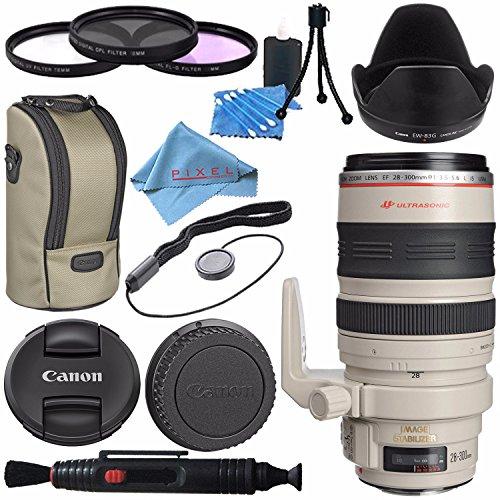 Canon EF 28-300mm f/3.5-5.6L IS USM Lens 9322A002 + 77mm 3 Piece Filter Kit + Lens Cleaning Kit + Fibercloth Bundle