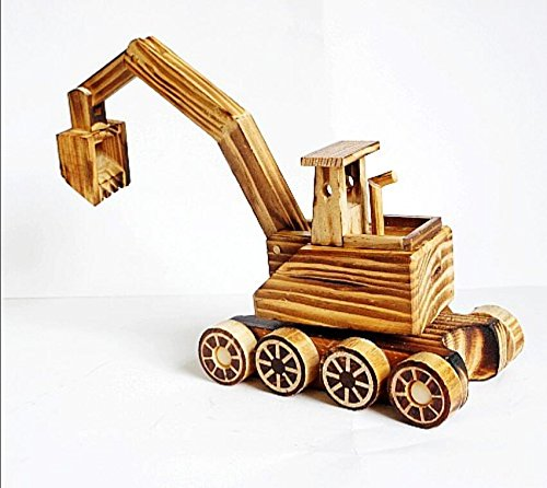 BWLZSP 1PCS New Products Pure Wood Excavator Wood Toy Tank Wheels Home Decorations Gift Ornaments Crafts Lovers Toy WL5300934 (Color : Excavator) by BWLZSP (Image #3)