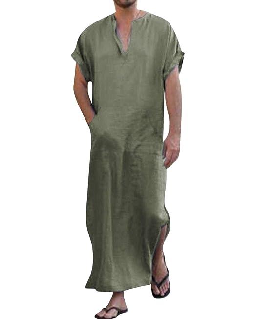 44d5f1555e4 Jacansi Mens V Neck Short Sleeve Linen Robe Muslim Thobe Sleepwear Army  Green UK 6-