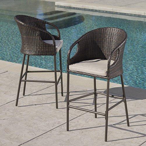 Blue Oak Outdoor Bahamas 4PC Patio Furniture Conversation Set Sofa, Coffee Table, 2 Lounge Chairs with Sunbrella Canvas Heather Beige Cushions
