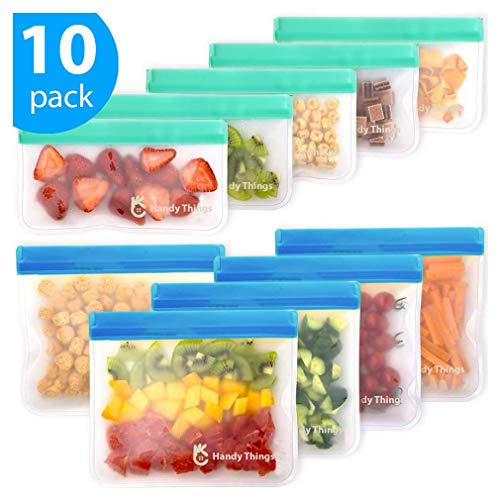 Reusable Storage Bags – 10 Pack Leakproof Freezer Bag (5 Reusable Sandwich Bags & 5 Reusable Snack Bags) – Extra Thick BPA Free Reusable Ziplock Bag for Kid Food Storage Home Travel Organization
