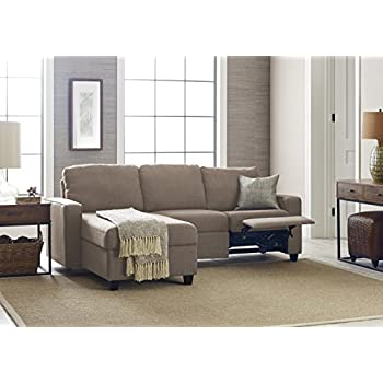 Serta Palisades Reclining Sectional With Left Storage Chaise   Warm Oatmeal