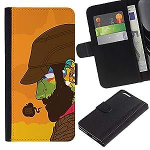 KingStore / Leather Etui en cuir / Apple Iphone 6 PLUS 5.5 / Haciendo Buena Cara colorida