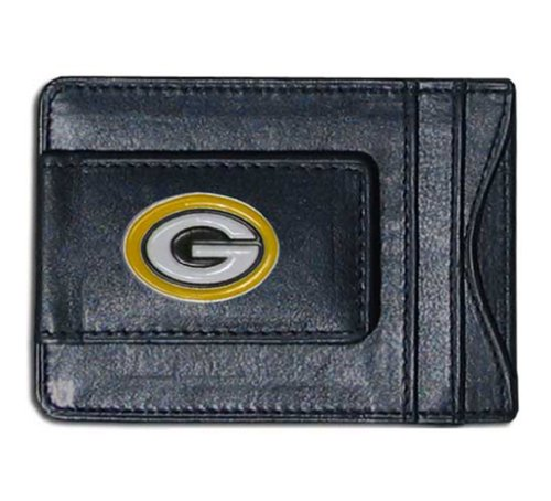 NFL Football Green Bay Packers Leather Money Clip Card Holder With Team Logo by Siskiyou