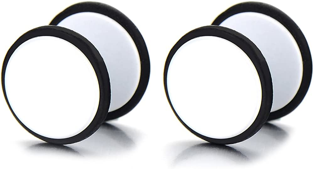 2pcs White Screw Stud Earrings Men Women, Steel Cheater Fake Ear Plugs Gauges Illusion Tunnel