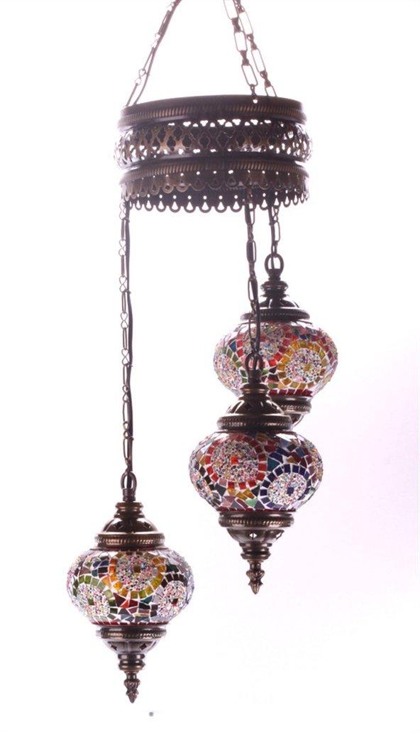 Mosaic Chandelier Set 3 Globe, Handmade Authentic Tiffany Lighting Moroccan Lamp Glass Stunning Bedside Night Lights Brass&Glass Ottoman Turkish Style