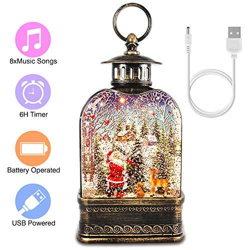 Snow Globe Lantern, Christmas Musical Water Lantern Decorative Glitter Santa Lantern for Kids