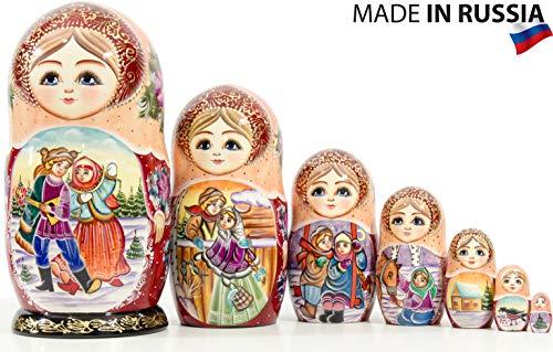 Nesting Doll - Russian Village - Hand Painted in Russia - Big Size - Wooden Decoration Gift Doll - Matryoshka Babushka (Design E, 8.25`` (7 Dolls in 1)) ()