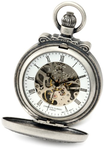 Charles-Hubert, Paris 3866-S Classic Collection Antiqued Finish Double Hunter Case Mechanical Pocket Watch by Charles-Hubert, Paris