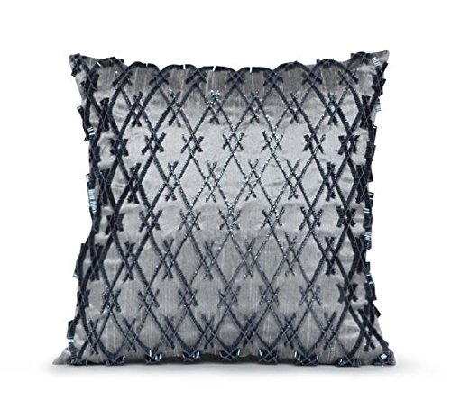 Amore Beaute Handcrafted Decorative Throw Pillow Cover in Grey Pure Silk Fabric With Beaded Geometric Design Accent…