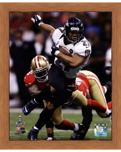 (Poster Palooza Framed Ray Rice Super Bowl XLVII Action- 8x10 Inches - Art Print (Honey Pecan Frame) )