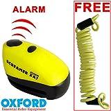 Oxford XA7 Screamer Alarm Disc Lock Motorbike Motorcycle Brake Disc Lock Alarmed Bike Bicycle Yellow/Matt Black