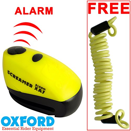Oxford XA7 Screamer Alarm Disc Lock Motorbike Motorcycle Brake Disc Lock Alarmed Bike Bicycle Yellow/Matt Black Touch Global Ltd