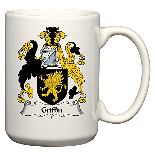 (Griffin Coat of Arms/Griffin Family Crest 15 Oz Ceramic Coffee/Cocoa Mug by Carpe Diem Designs, Made in the U.S.A.)