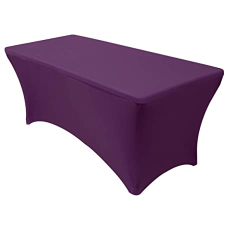 Superb Your Chair Covers Stretch Spandex 6 Ft Rectangular Table Cover Eggplant 72 Length X 30 Width X 30 Height Fitted Tablecloth For Standard Folding Machost Co Dining Chair Design Ideas Machostcouk