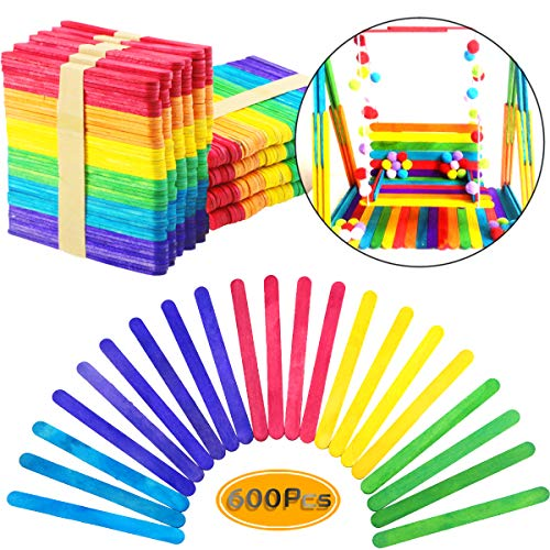 UPlama 600 PCS Colored Craft Sticks Wooden Popsicle Sticks Natural Jumbo Wooden Popsicle Sticks for DIY Craft Creative Designs or Children Education ()