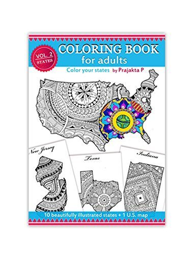 Volume 02 – USA state maps adult coloring book, stress relieving patterns for all, spiral bound Patriotic coloring gifts