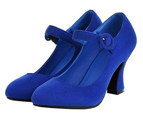 MISSUIT Mary Jane Damen Schuhe Blockabsatz High Heels
