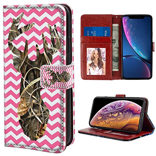 YaoLang iPhone Xs Max Wallet Case, Pink Camo Deer PU Leather Standable Wallet Phone Case with Card Holder Magnetic Hold for iPhone Xs Max