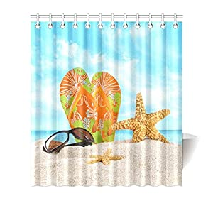 Valentine's Day Gifts Sunglasses Flip Flops Starfish On Beach Design Waterproof Bathroom decor Fabric Shower Curtain Polyester 66 x 72 inches