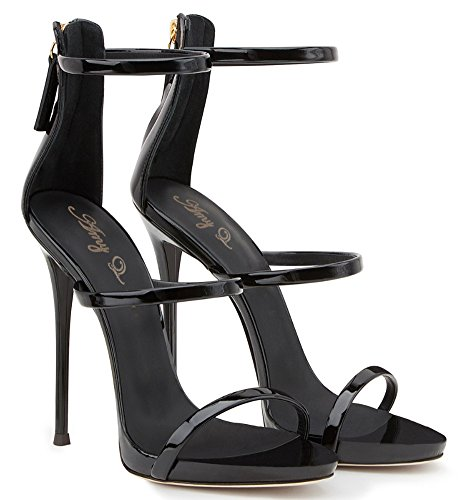 Amy Heel Q Shoes High Black Women's Handmade Open Party Size Sandals Dress Big Toe SrrdwIn4q