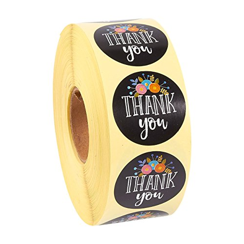 Order Free Gift Stickers - Pack of 1000 Thank You Floral Sticker Labels - Round Adhesives - Value Pack, 1.5 Inches in Diameter