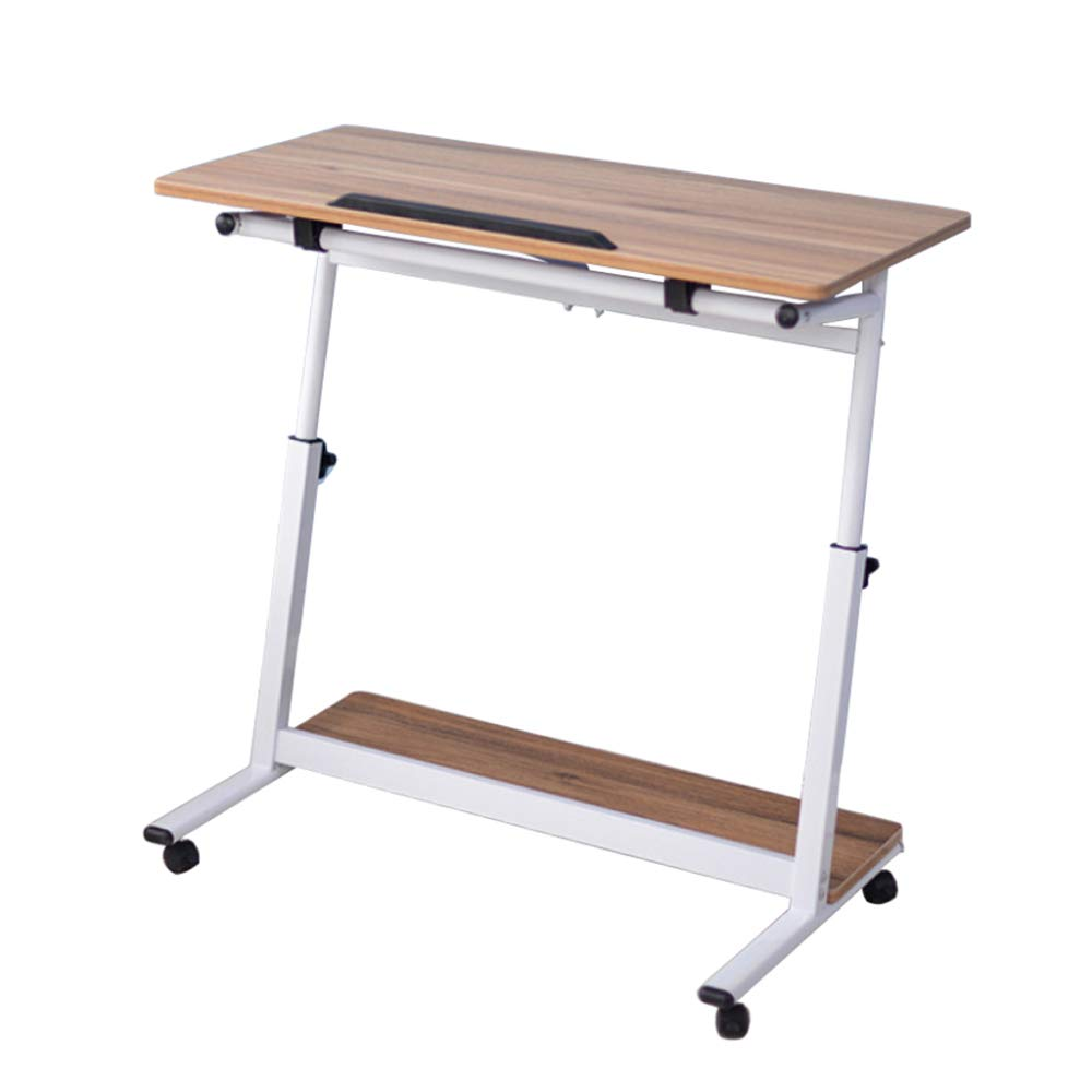 LIULIFE Mobile Computer Desk On Wheels, Writing Desk, PC Table for Small Spaces, Workstation for Home Office, Easy Assembly,Brown-8040cm