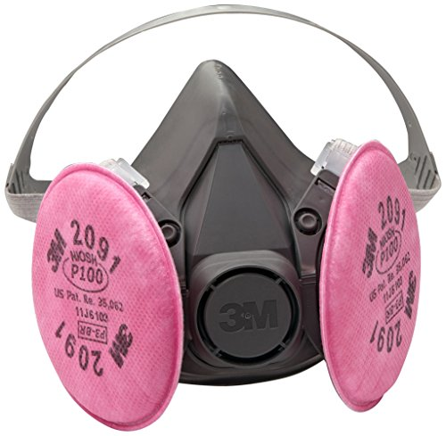 3M Half Facepiece Reusable Respirator Assembly 6391/07003(AAD), P100 Respiratory Protection, Large (Dual Cartridge Series Respirator)