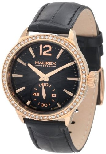Haurex Italy Women's FH341DNH Grand Class Rose-Gold PVD Case Crystal Bezel Watch by Haurex
