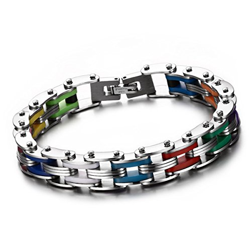 Cupimatch Men's Cool Stainless Steel Colorful Rainbow Rubber Interwoven Bracelet Link Chain Wrist, 8.3