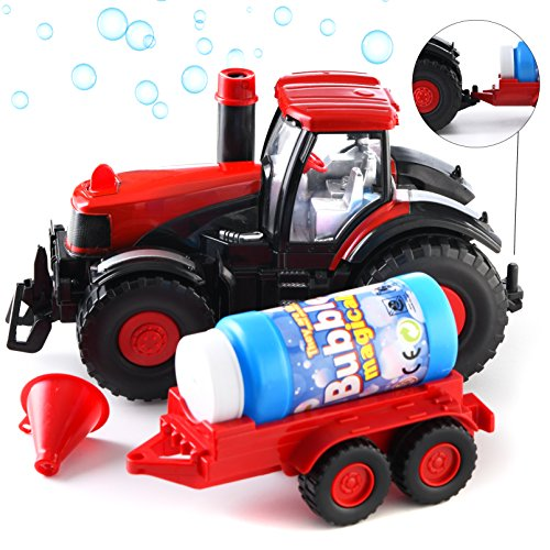 Prextex Bump & Go Bubble Blowing Farm Tractor Truck with Lights Sounds and Action Fun Toy and Gift for Kids Case Ih Farm Equipment