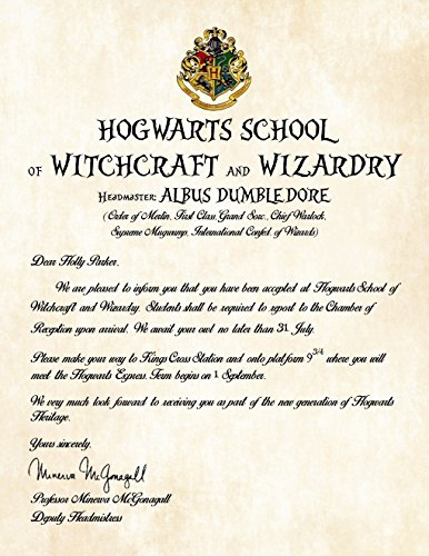 Amazon.Com: Personalized Harry Potter Acceptance Letter - Hogwarts