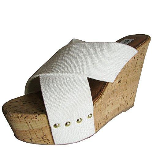 Steve Madden Women's Pride Wedge Sandal,White,10 M US