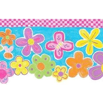 foto de Wallpaper Border Flower Power Green Pink Green Yellow Orange ...
