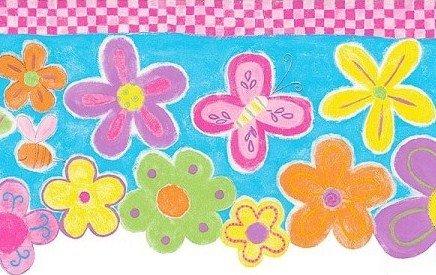 Wallpaper Border Flower Power Green Pink Green Yellow Orange Flowers on Blue