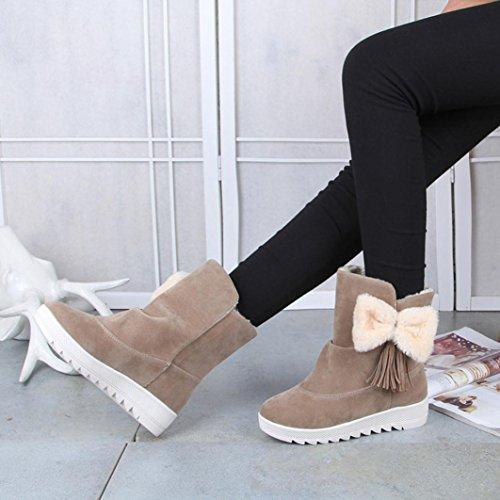 Elevin (tm) 2017 Femmes Hiver Chaud Mode Arc Cheville Garniture Plat Cheville Neige Bottes Chaussures Kaki