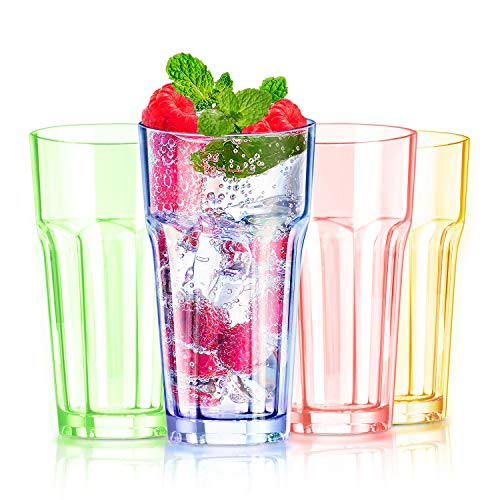13 oz Colored Plastic Cups Highball Drinking Glasses Tall Water Tumblers Kids Beakers Glassware Adults Picnic Camping…