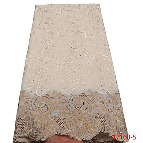 African Dry Lace Fabric Swiss Voile with Stones Swiss Cotton Lace 2019 White Lace Fabrics for Wedding NA1716B 2,Picture 5