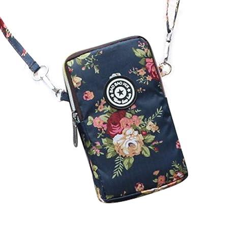 Libertry estilo coreano bolsa de teléfono móvil de impresión de la mujer Mini Messenger Bag Cuello colgante Nylon Impermeable Deportes corriendo Brazo ...
