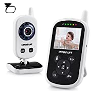 Video Baby Monitor, UU Infant Night Vision Camera Temperature Monitor with Alarm, Night Light, 2 Way Talkback Audio[Baby Car Mirror Included]