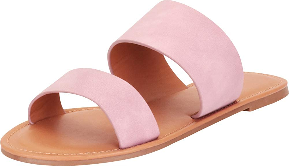 Herstyle Native Womens Open Toes Two-Strap Flat Sandals Classic Slip-On Slide Shoes