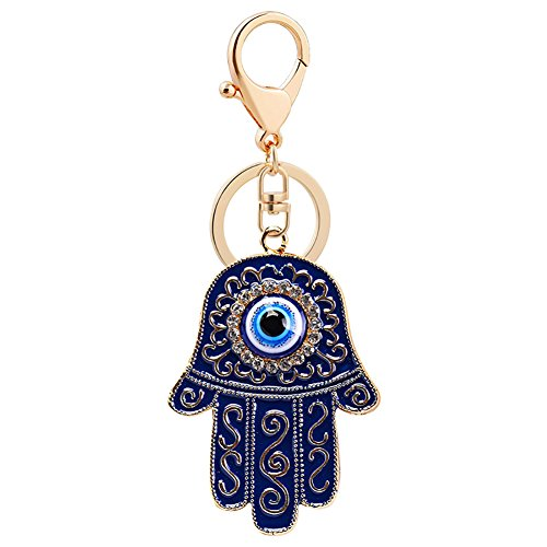 wintefei Fashion Hand of Fatima Blue Evil Eye Keychain Key Ring Chain Holder Bag Decor - Ink Blue