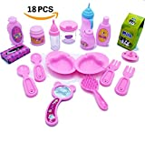 "Doll Feeding Set - 18 Pc. Baby Doll Accessories - Fits American Girl Doll, Other 18"" Dolls - Inc. Doll Bowls, Plates & Utensils, Doll Baby Bottles, Doll Hair Brush & Mirror, Doll Diaper, Doll Feeding"